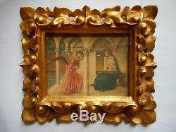 PETIT CADRE ANCIEN EN BOIS DORE. XIX°. Gravure, Peinture, aquarelle, dessin. Italien