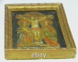 PLAQUE EX VOTO en CIRE XVIII/XIXe cadre bois Doré CHRIST Mère de Jésus Disciple