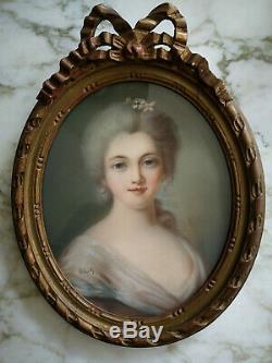 PORTRAIT DE DAME DESSIN AU PASTEL ÉPOQUE XIXème CADRE EN BOIS DORÉ