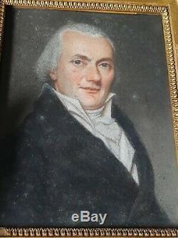 PORTRAIT DE NOTABLE DESSIN AU PASTEL debut XIXème CADRE EN BOIS DORÉ