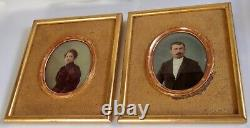 Paire De Cadres Dorés Anciens Portraits Photos Colorisés Fin Xix° S