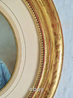 Paire De Cadres Ovales Xix° Bois Doré Photos Colorisées Couple