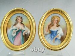 Paire De Miniatures Portrait De Femme Peints Sur Porcelaine 1900 Cadre Bois Dore