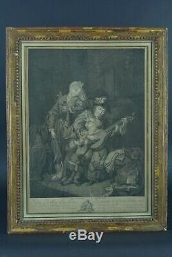 Paire de Gravure 18ème Louis XVI cadre bois doré Duflos Guitare Schenau Saxe X 2