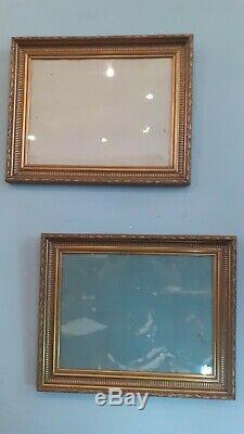 Paire de cadre rectangulaire en bois doré fin XIX ème style Louis XVI