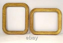 Paire de cadres bois stuqué doré perles Napoléon III XIXème siècle