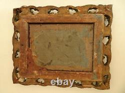Paire de cadres en bois et stuc doré. XIX°. Miniature, photographie, dessin, aquarell