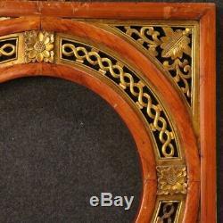 Paire de cadres panneaux décoratifs oriental chinois en bois doré style ancien