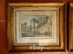 Paire de gravures avec cadres en bois doré. XIX°