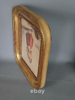Pastel Femme & enfant XIXe s. Cadre bois gravé doré 28x24 cm Bon état SB