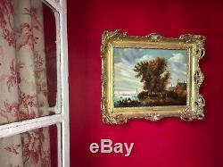 Paysage marin Huile sur bois de la fin du XIXe Superbe cadre en bois doré