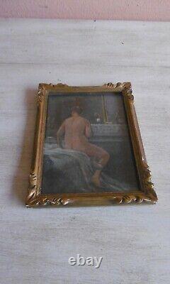 Peinture Huile Femme Nue Au Miroir Xixeme Cadre Bois Dore