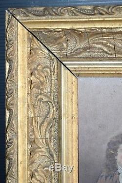 Peinture Sur Bois La Fontaine Cadre Dore Ancien Bel Objet Deco Cadre Art Nouveau