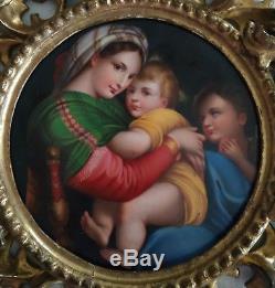 Peinture XIX sur plaque porcelaine / Cadre bois doré / Painting Raffaelo sanzio
