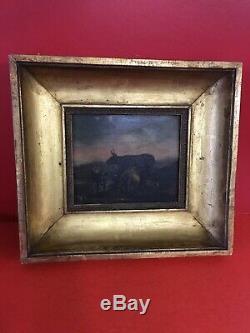 Peinture à l'huile sur panneau cadre bois et stuc doré mouluré XIXème HY05