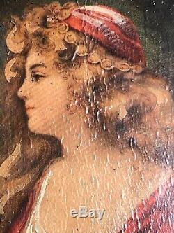 Peinture ancienne portrait sur bois femme robe rouge Belle qualité cadre doré or