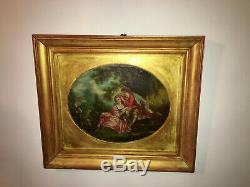 Peinture du 18e siècle Scène romantique Cadre en bois doré