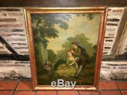 Peinture fin XIXe Scène romantique avec personnages Cadre en bois doré
