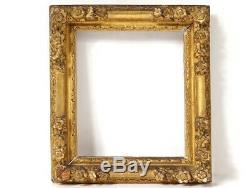 Petit cadre Régence bois sculpté doré fleurs antique frame XVIIIème siècle
