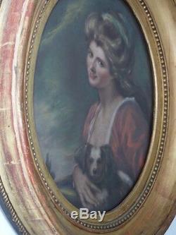 Portrait Au Pastel d'Une Jeune Femme Et Son Chien, Cadre Ovale En Bois Doré XIX