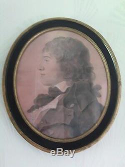 Portrait Tableau Fusain Crayon Cadre Bois Noir Et Dore XVIII Siecle