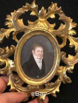 Portrait d'Homme Peinture Miniature Cadre Bois Doré Ajouré Sculpté XIX ème