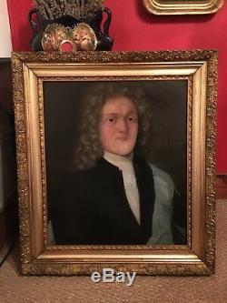Portrait d'homme du XVIIIe siècle Cadre en bois doré