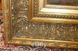 RARE-HUILE SUR TOILE signé VERONESI Tableau cadre ancien bois, doré feuille or
