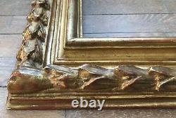 Rare Cadre Sculpté Bois Dorure À La Feuille Dor 6f Original French Frame