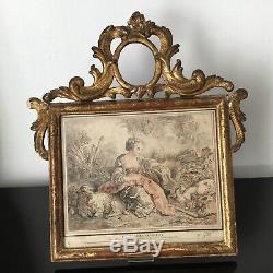 Rare Grand Cadre en Bois Doré XVIIIè Epoque Louis XV Gravure Huet Demarteau
