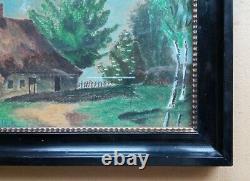 Rare paire de cadres laqués noirs début XXe siècle + pastels signés 1915
