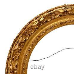 Rond Cadre Ancien de Mirroir de 1830 en bois doré 51x51 cm à l'intérieur