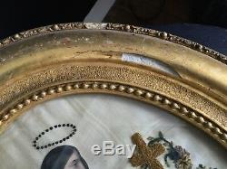 STE MADELEINE Broderie XVIIIè Cadre Bois Doré Georgian French 18th C Embroidery