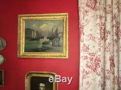 Scène de marine signée d'époque XIXe Beau cadre en bois doré