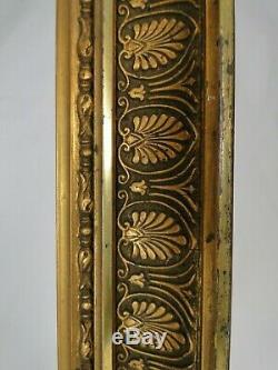 Superbe Cadre rectangulaire en bois stuqué doré palmettes Restauration Ep. XIXè