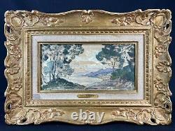Superbe H/T début du XXè par Paul Charavel Paysage maritime Cadre bois doré