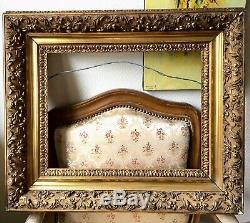 Superbe cadre bois stucs dorés LOUIS XV BARBIZON XIXe 19e Feuill 47X37 ACCIDENT