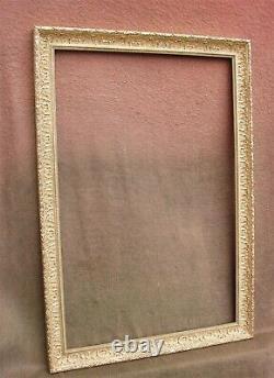 Superbe et important cadre contemporain doré à la feuille feuillure 76 x 50 cm