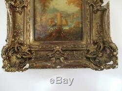 Superbe huile sur bois ancien XIXe XVIIIe tableau rare cadre bois stuc doré