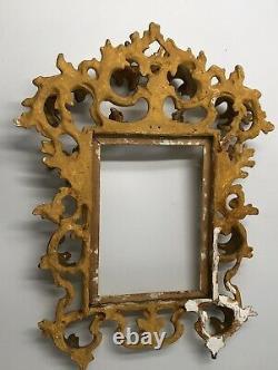 Superbe petit cadre BOIS SCULPTE doré Feuilles d'acanthes ITALIE Fin XVIIIe 18TH