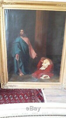 T beau Christ et Marie Madeleine T. H. 143cm L. 111cm plus cadre doré bois stuc