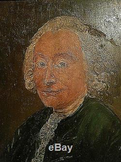 TABLEAU ANCIEN PORTRAIT HUILE SUR BOIS DE STYLE XVIII ème + BEAU CADRE DORÉ