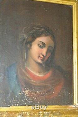 TABLEAU HST MADONNE VIERGE signé Cécile BELLOT daté 1949 Cadre bois doré XXe