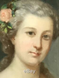 TABLEAU /PASTEL SOUS VERRE DU XIXe (PORTRAIT DE FEMME) AVEC CADRE EN BOIS DORÉ