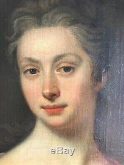 THOMAS HUDSON (Attr) Splendide Portrait de Femme HST XVIII Cadre en bois doré
