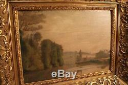 Tableau 19e paysage lacustre cadre bois et stuc doré style Régence