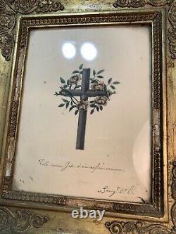 Tableau-Crucifix avec Croix Du Christ. Cadre Reliquaire Bois Sculpté Doré XIX