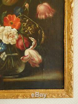 Tableau Ecole Hollandaise du XVIIIe bouquet de fleurs, HST, cadre bois doré