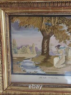 Tableau En Broderie Cadre Bois Dore Charles X Empire Chasse Papillons