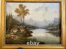 Tableau XIXe Huile Sur toile, paysage alpin 41 x 33 cm avec son cadre bois doré